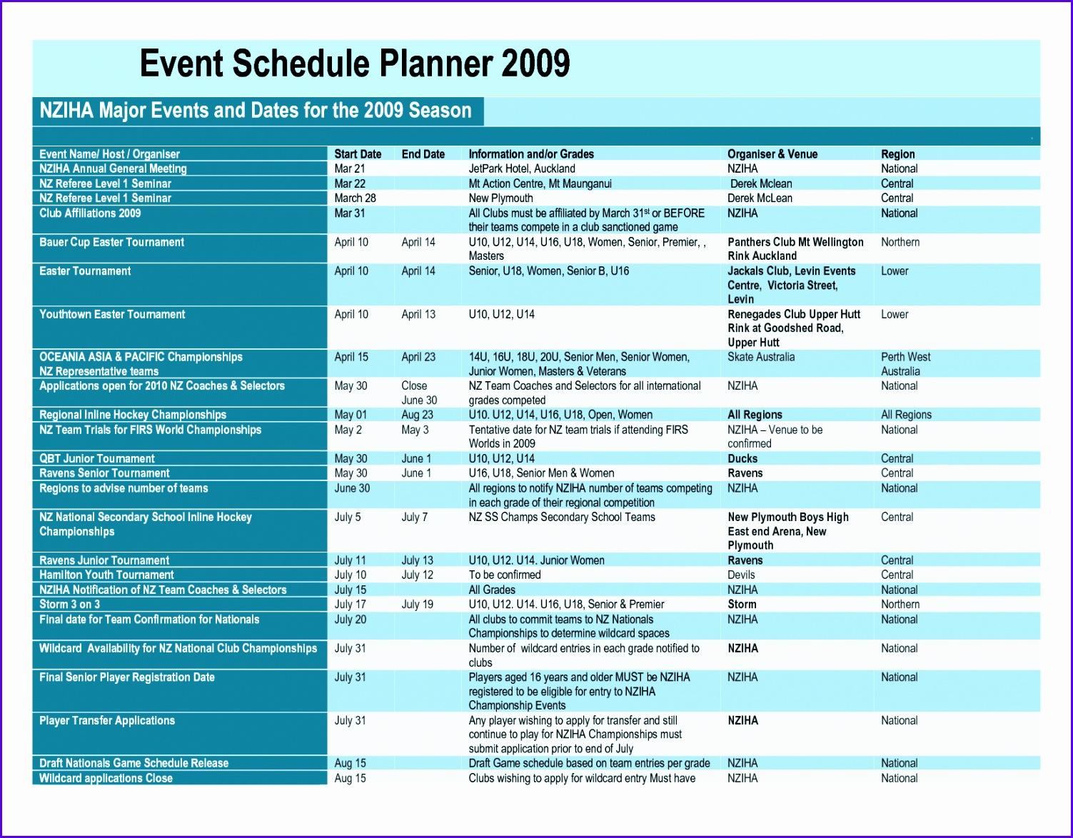 10 Event Schedule Template Excel