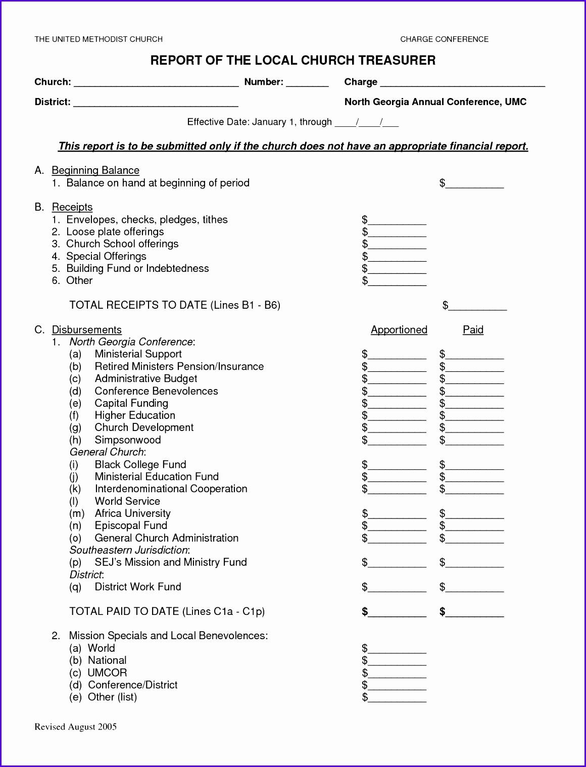 8 Treasurer Report Template Excel