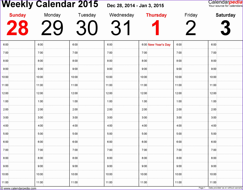 10 Weekly Calendar Template Excel
