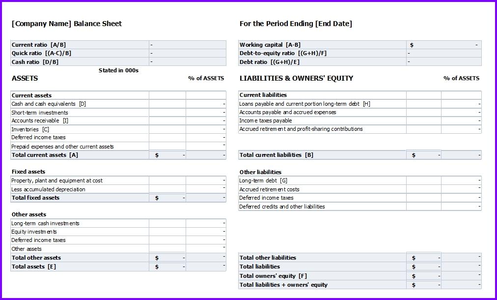 Balance Sheet Template Exceltemplates