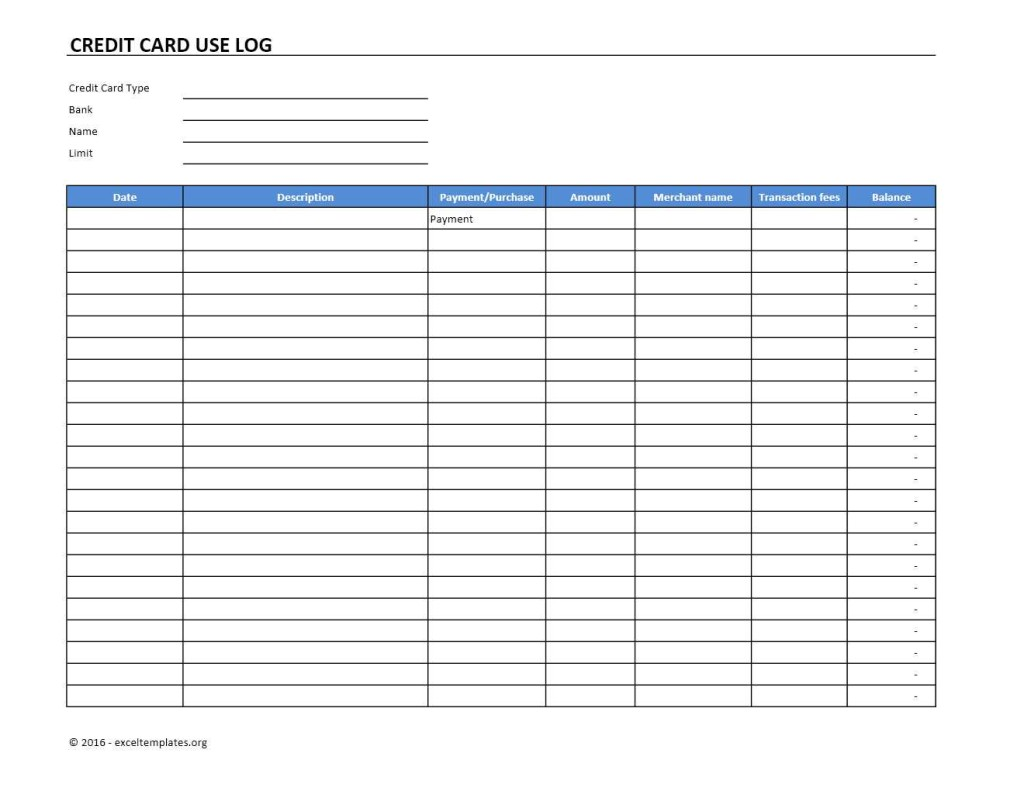 Credit Card Use Log Template