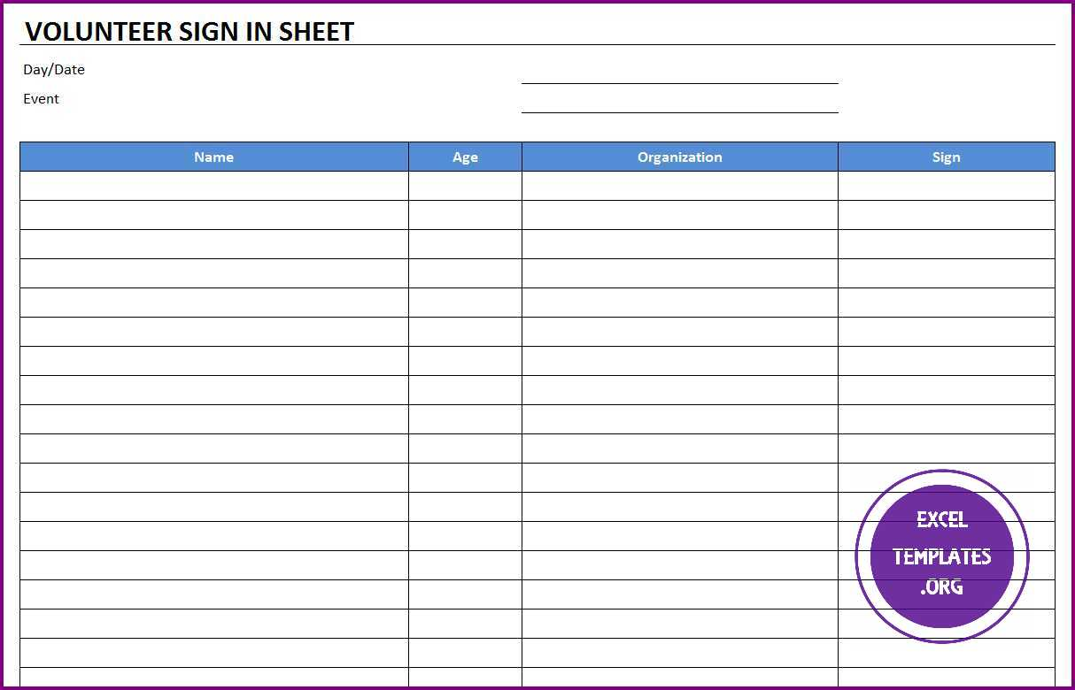 Volunteer Sign In Sheet Template Exceltemplates