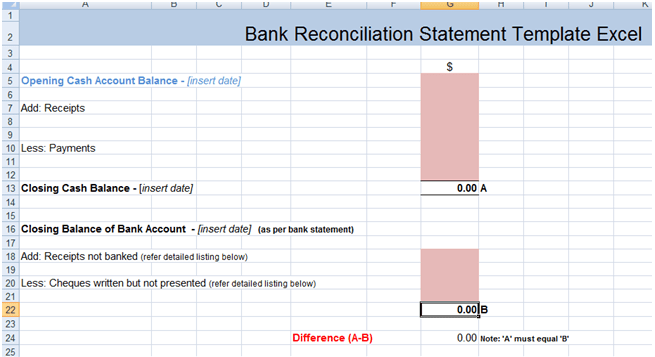 account reconciliation report template free report templates – Bank Reconciliation Example