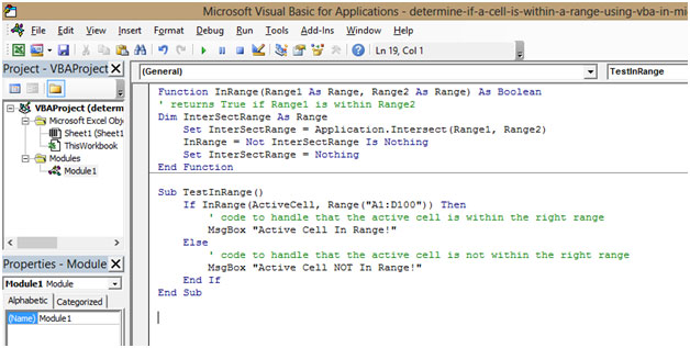 Determine If A Cell Is Within A Range Using Vba In