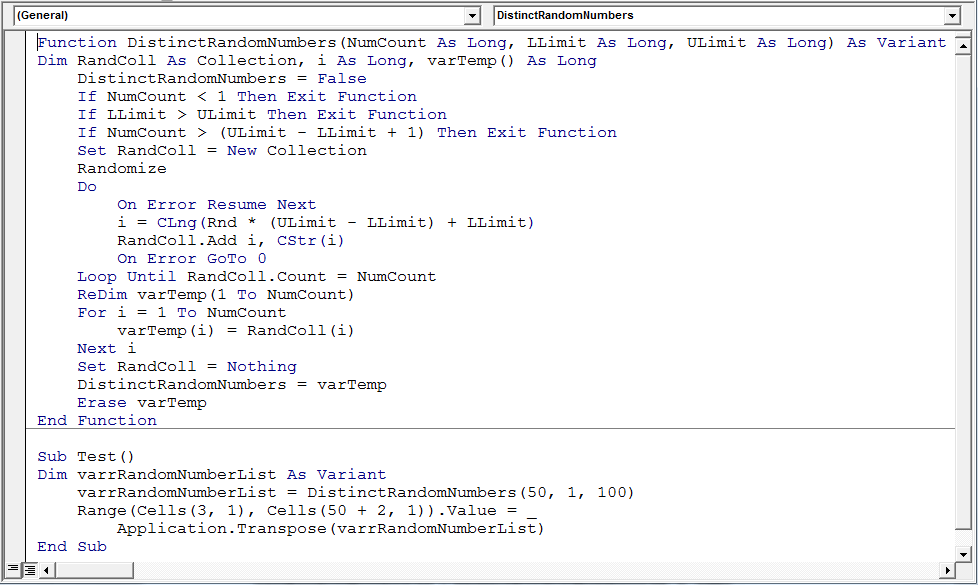 random numbers generator without repeat numbers using in microsoft