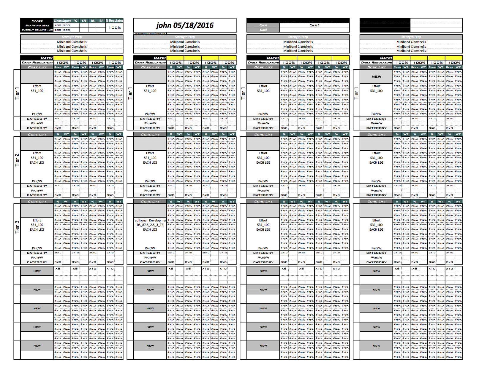 Platinum Strength Amp Conditioning Templates