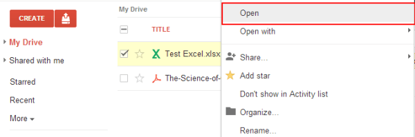 View Excel Files in Google Docs