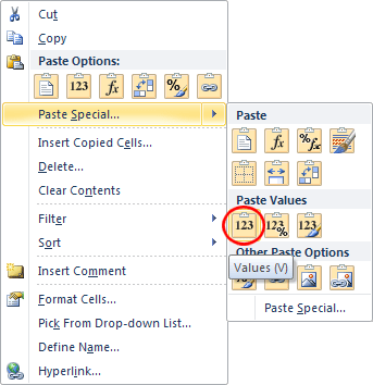 how to keep value only in excel