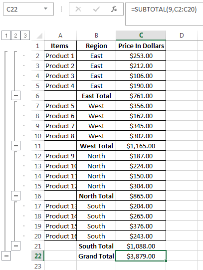 Subtotal Function from Excel Ribbon
