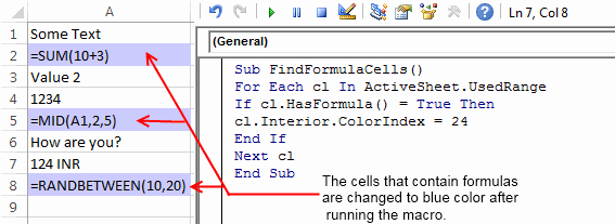 Find Formulas in Excel