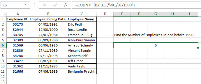 Result of CountIf