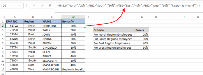 Excel Nested If'