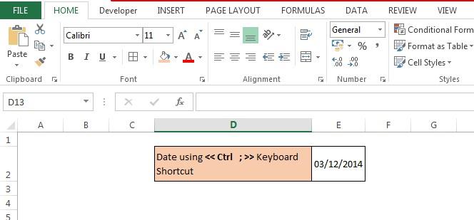 Date Using Keyboard Shortcut