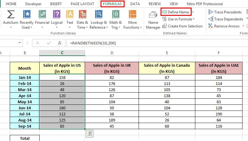Adding Name Range using Define Name Option