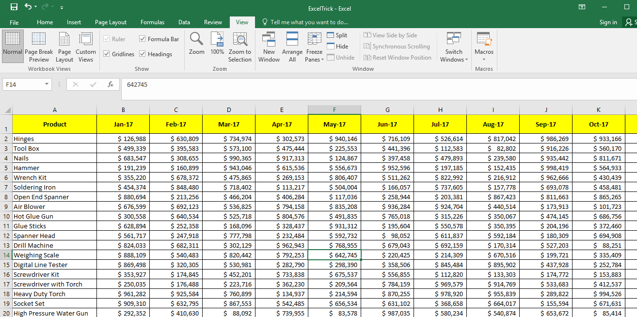 Example Freeze Panes - Multiple Rows and Columns both