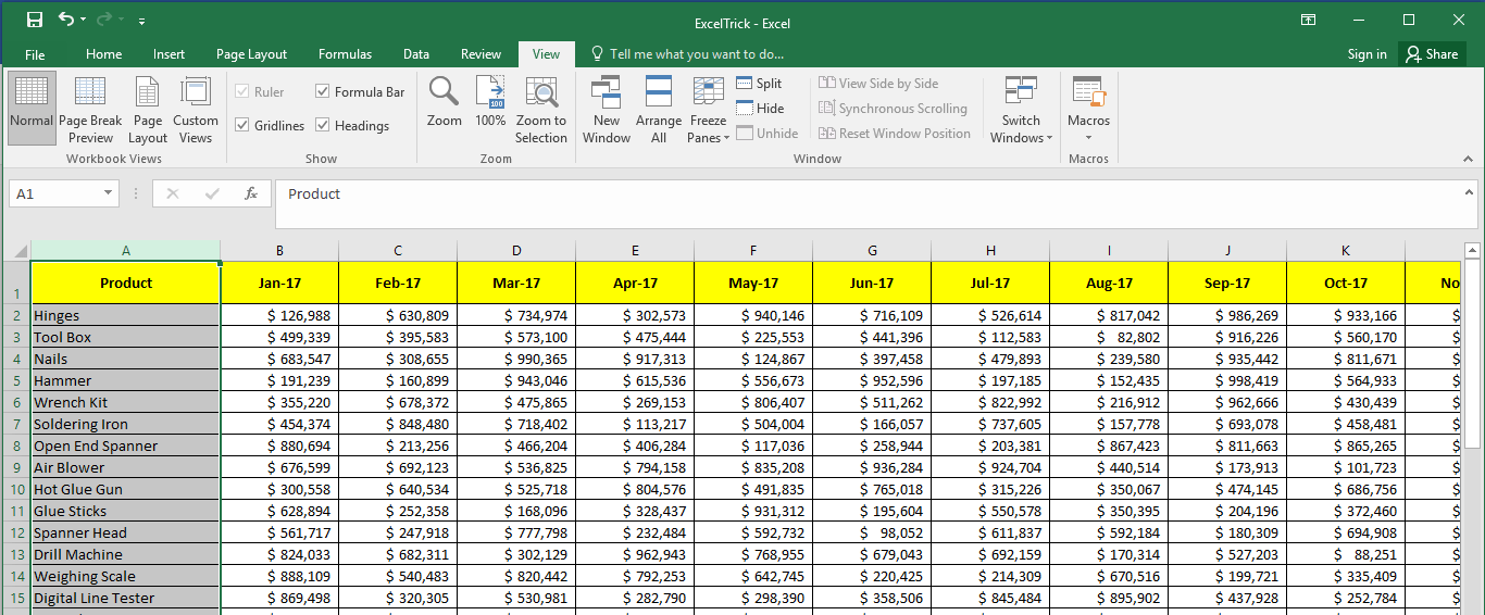 Sample to Freeze First Column