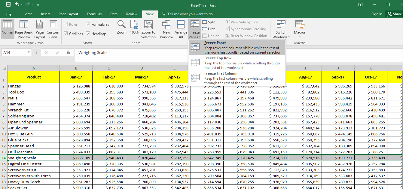 Option to Freeze Panes - Multiple Rows