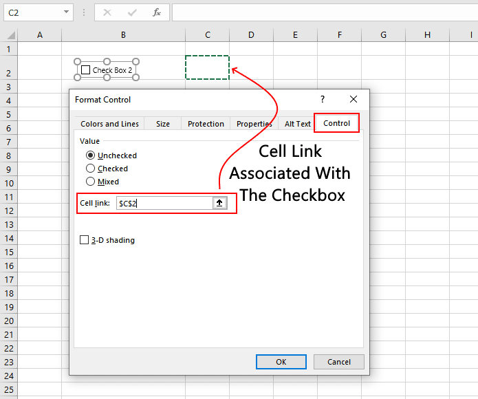 Setting a Cell Link For Checkbox