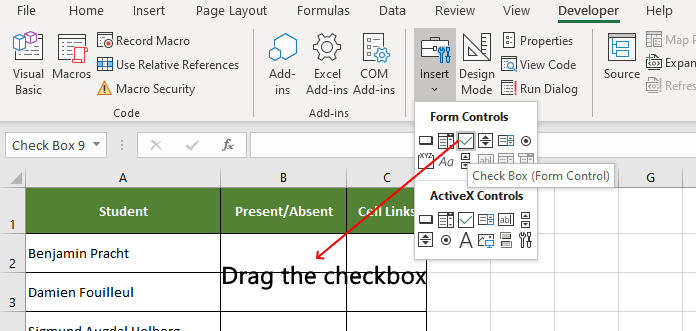 Drag the excel checkbox control