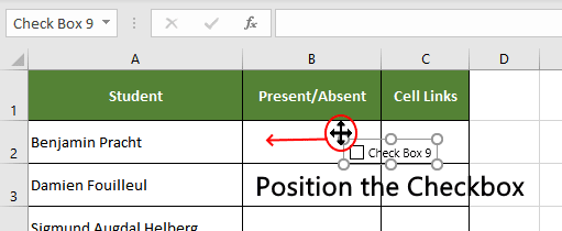 Adjust the excel checkbox position