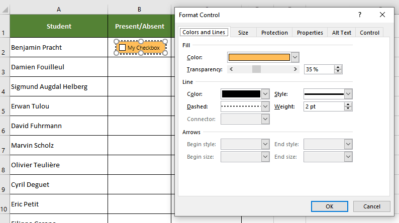 Formatting a checkbox in excel
