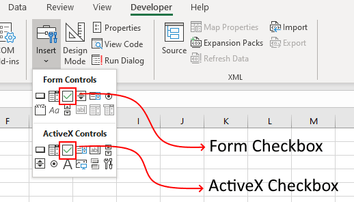 Form Checkbox vs ActiveX Checkbox in Excel