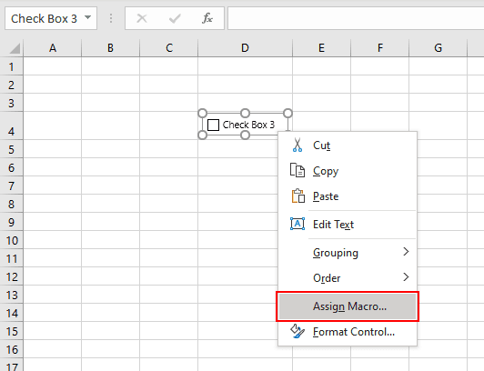 Adding a macro to excel checkbox