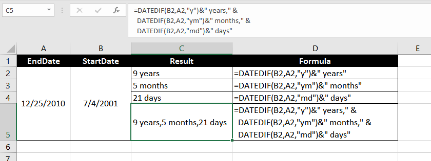 Get Years, Months, and Days Between Two Dates