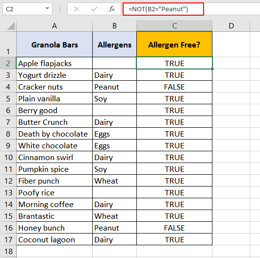 Excel-NOT-Function-Example-01