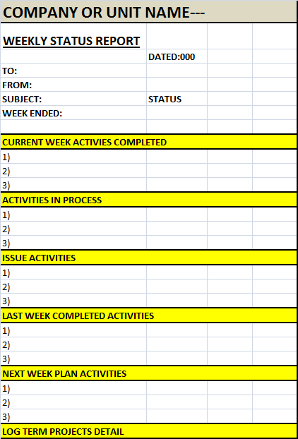 weekly status report template  u2013 excel word templates