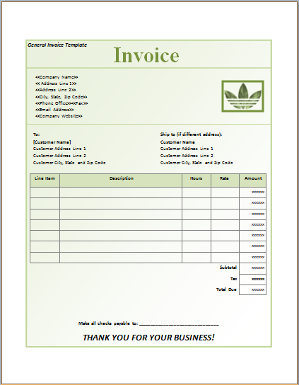 Invoice Templates Excel Word Templates – General Invoice Template