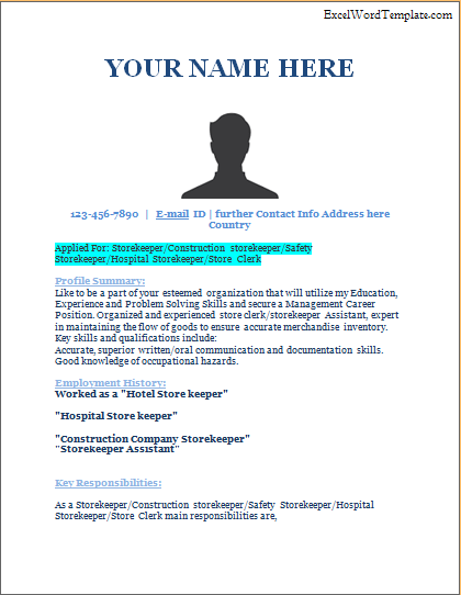 Store Keeper Resume Template