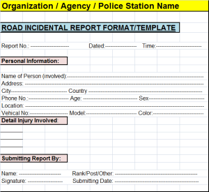 Road Incident Report Template