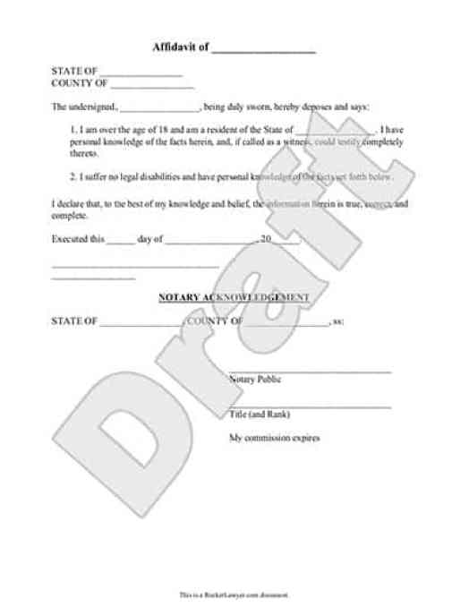 Sample Affidavit Forms  Word Templates