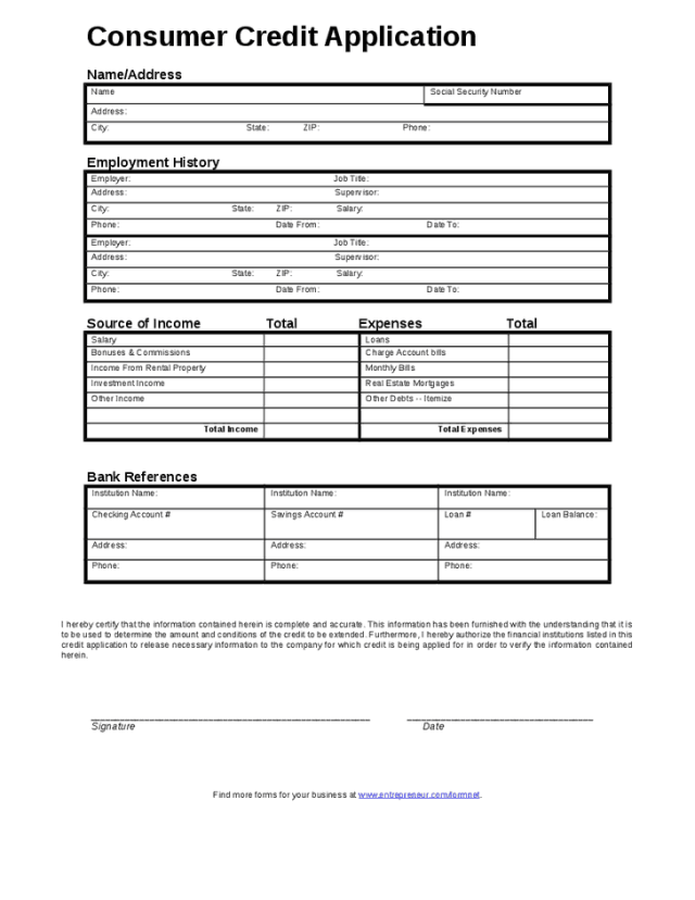 6 credit application forms word templates credit application form101 thecheapjerseys Gallery
