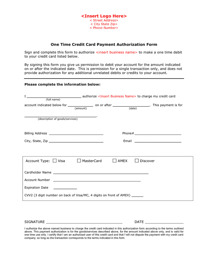 6+ Credit Authorization Forms – Word Templates