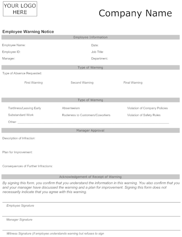 6 employee warning notice templates word templates employee warning notice template30 altavistaventures Image collections