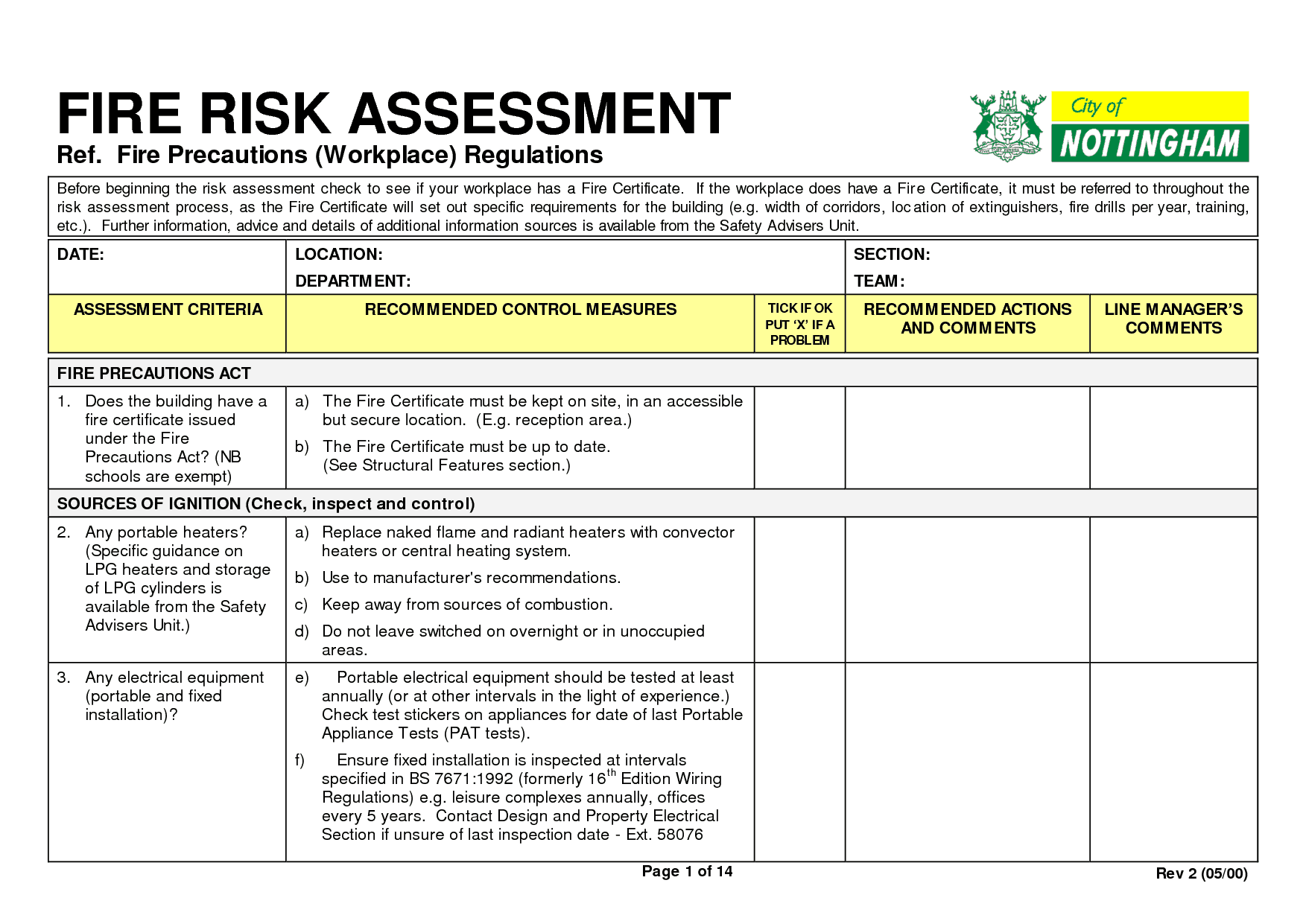 4 Fire Risk Assessment Forms Word Templates