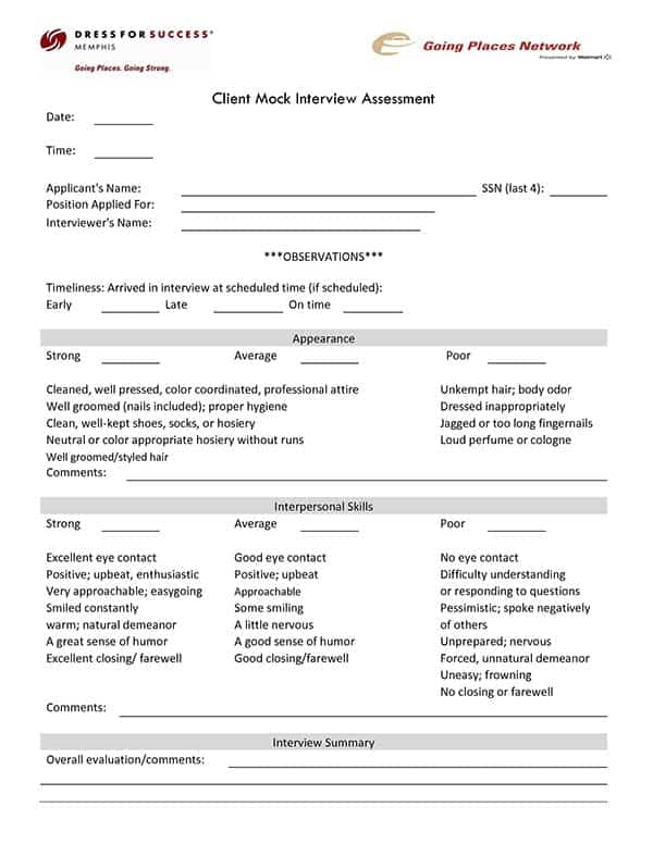 6 interview assessment forms � word templates