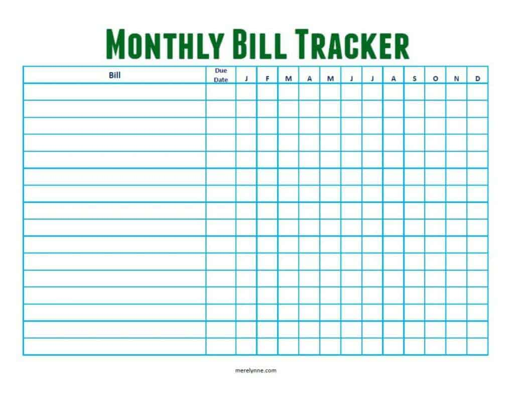 6 Monthly Bill Tracker Templates Word Templates