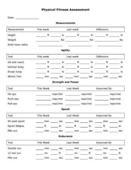 Physical Assessment Forms  Word Templates