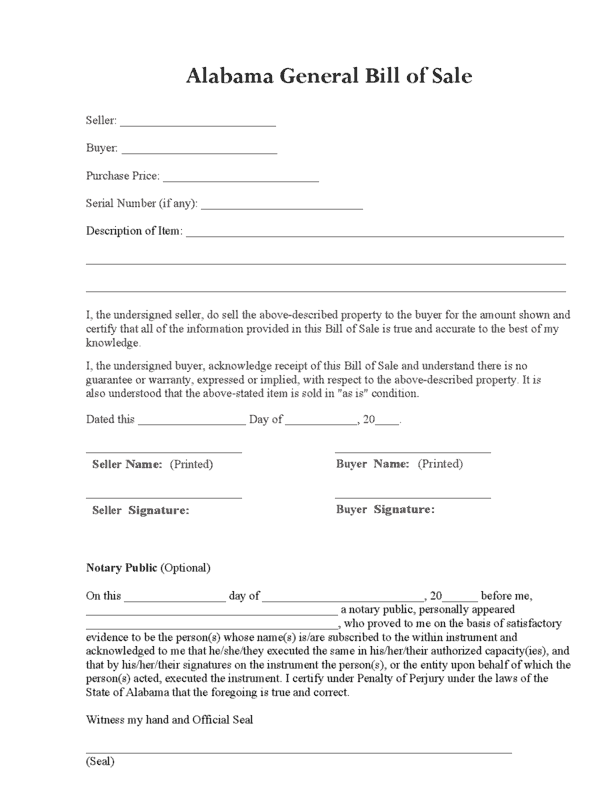 6+ Bill Of Sale Forms – Word Templates
