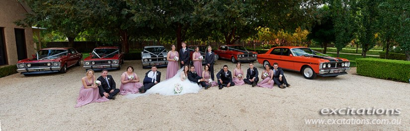 Q Estate Wedding location, ideal for that sweeping panorama of bridal group and cars. Wedding photography in Mildura by Excitations.
