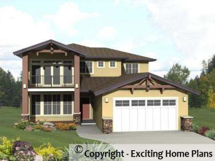 Modern House  Garage   Dream Cottage Blueprints by Exciting Home Plans Riverside   Front View of House