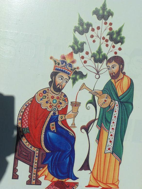 Peinture ancienne scène de cour représentant les habitudes de déguster le vin (c) G.A.-D.