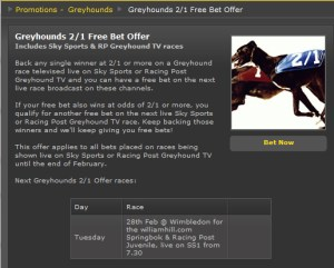 Free Greyhound Racing Bet at Bet365