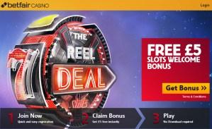 Betfair Casino £5 No Deposit Bonus Homepage