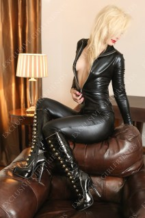 Courtney in black catsuit