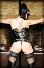 The mistress rear view with chains and back leather outfit by Exclusive Girlfriends