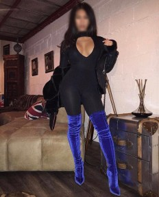 Neena in Blue velvet boots